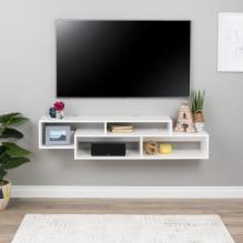 Modern Wall Mounted Media Console and Storage Shelf, White