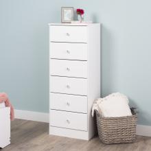 Astrid 6-Drawer Tall Chest with Acrylic Knobs, White