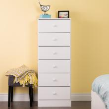 Astrid 6-Drawer Tall Chest, White