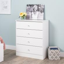 Astrid 4-Drawer Dresser with Acrylic Knobs, White