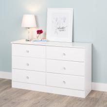 Astrid 6-Drawer Dresser with Acrylic Knobs, White