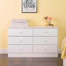 Astrid 6-Drawer Dresser, White