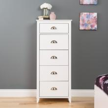 Yaletown 5-Drawer Tall Chest, White