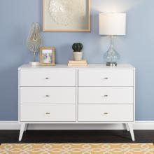 Milo Mid Century Modern  6-drawer Dresser, White