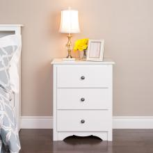 Monterey 3-drawer Tall Nightstand, White