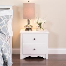 White Monterey 2 Drawer Nightstand