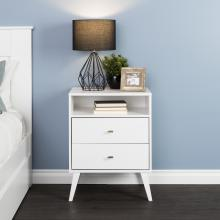 Milo Mid Century Modern  2-drawer Tall Nightstand with Open Shelf, White