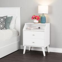 Milo 2 Drawer Night Stand with Angled Top, White
