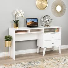 Milo Desk with Side Storage and 2 Drawers, White