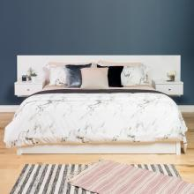 Floating King Headboard with Nightstands, White