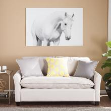 White Horse I Glass Wall Art