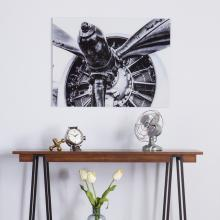 Old Aircraft Propeller Engine Glass Wall Art