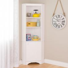 Elite White Tall 1-Door Corner Storage Cabinet
