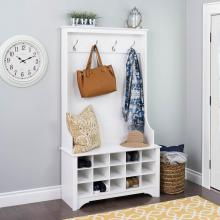 Hall Tree with Shoe Storage - White