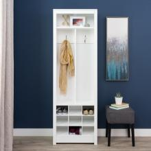 Space-Saving Entryway Organizer with Shoe Storage, White