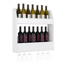2-Tier Floating Wine and Liquor Rack, White